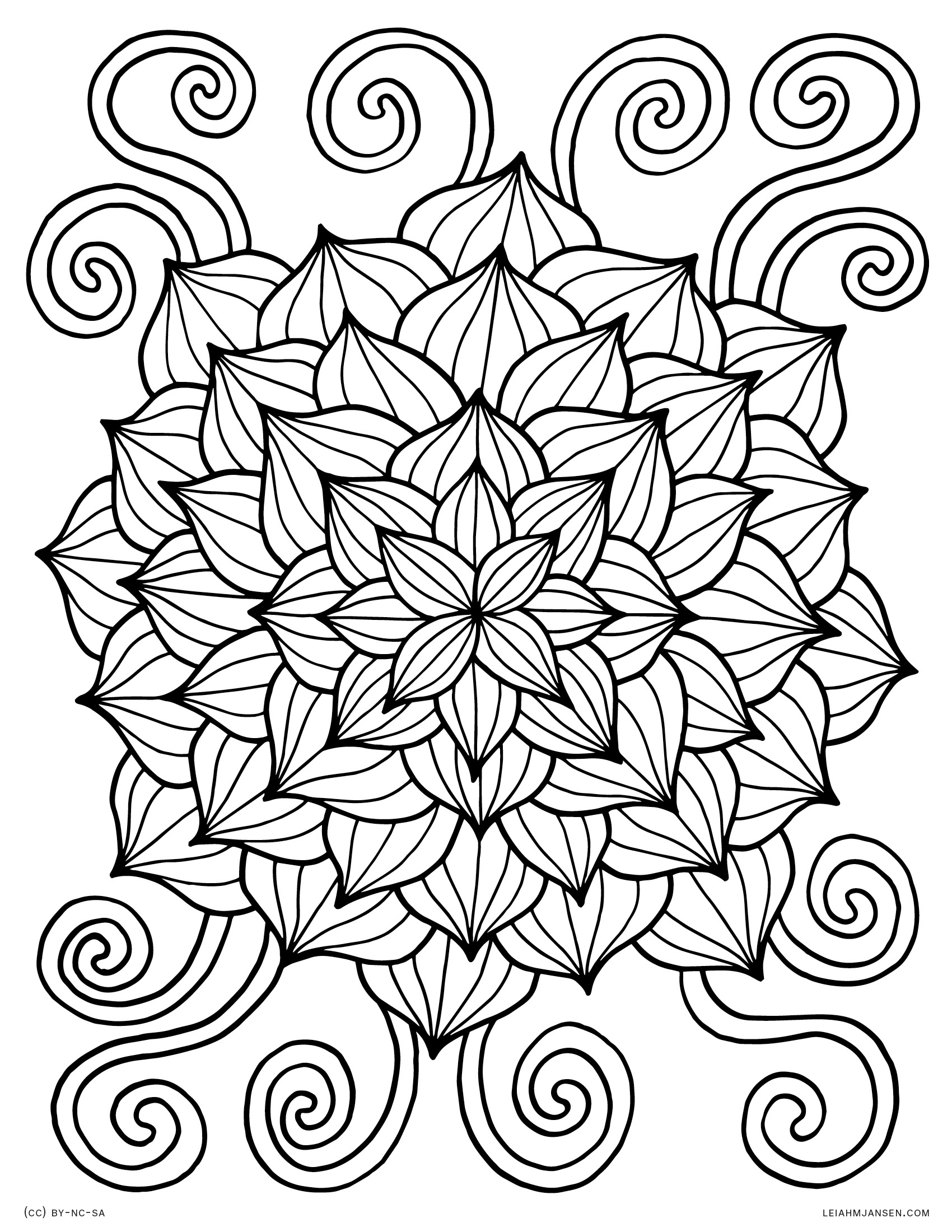 Lotus burst abstract linework flower free printable coloring page for adults and kids
