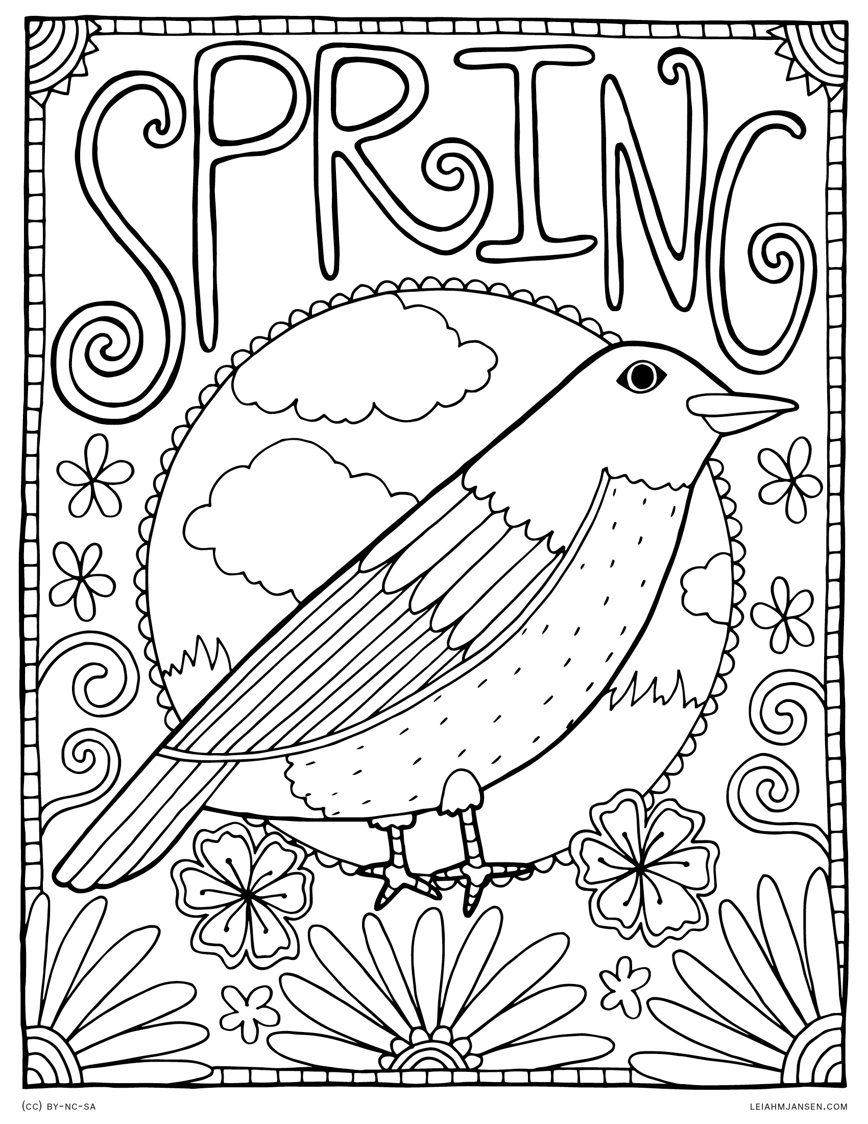 Spring Robin - Seasonal Spring Bird - Free Printable Coloring Page for Adults and Kids, by leiahmjansen.com
