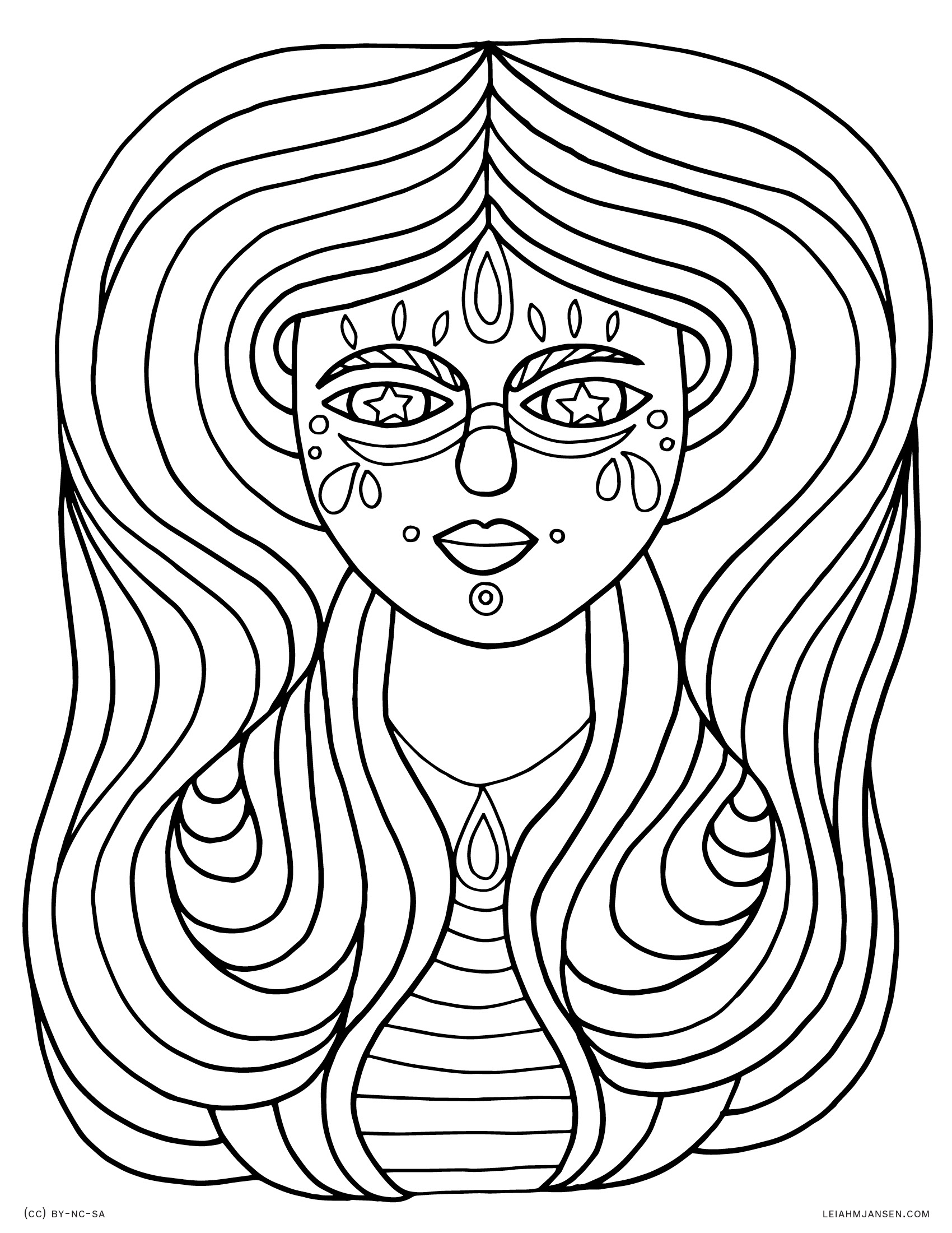 Flowy Hair Woman - Festi Magick Hippie Girl - Free Printable Coloring Page for Adults and Kids, by leiahmjansen.com
