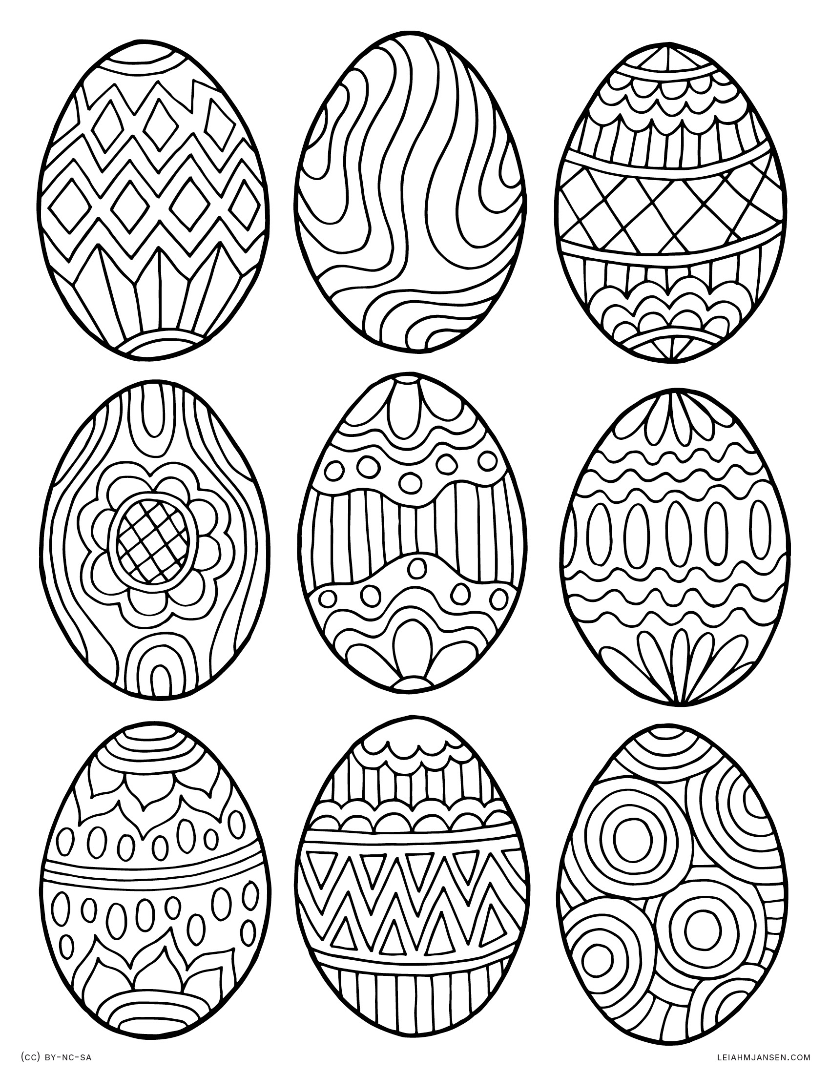 Decorated Easter Eggs - Happy Easter - Free Printable Coloring Page for Adults and Kids, by leiahmjansen.com