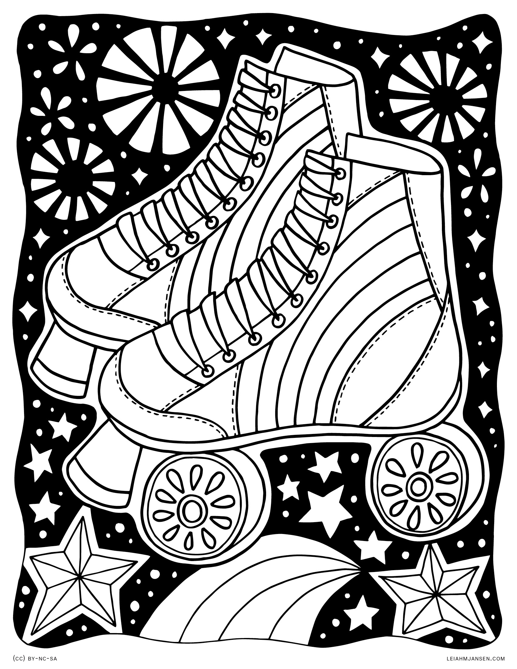Magical Rainbow Rollerskates - Blacklight Starry Roller Skates - Free Printable Coloring Page for Adults and Kids, by leiahmjansen.com