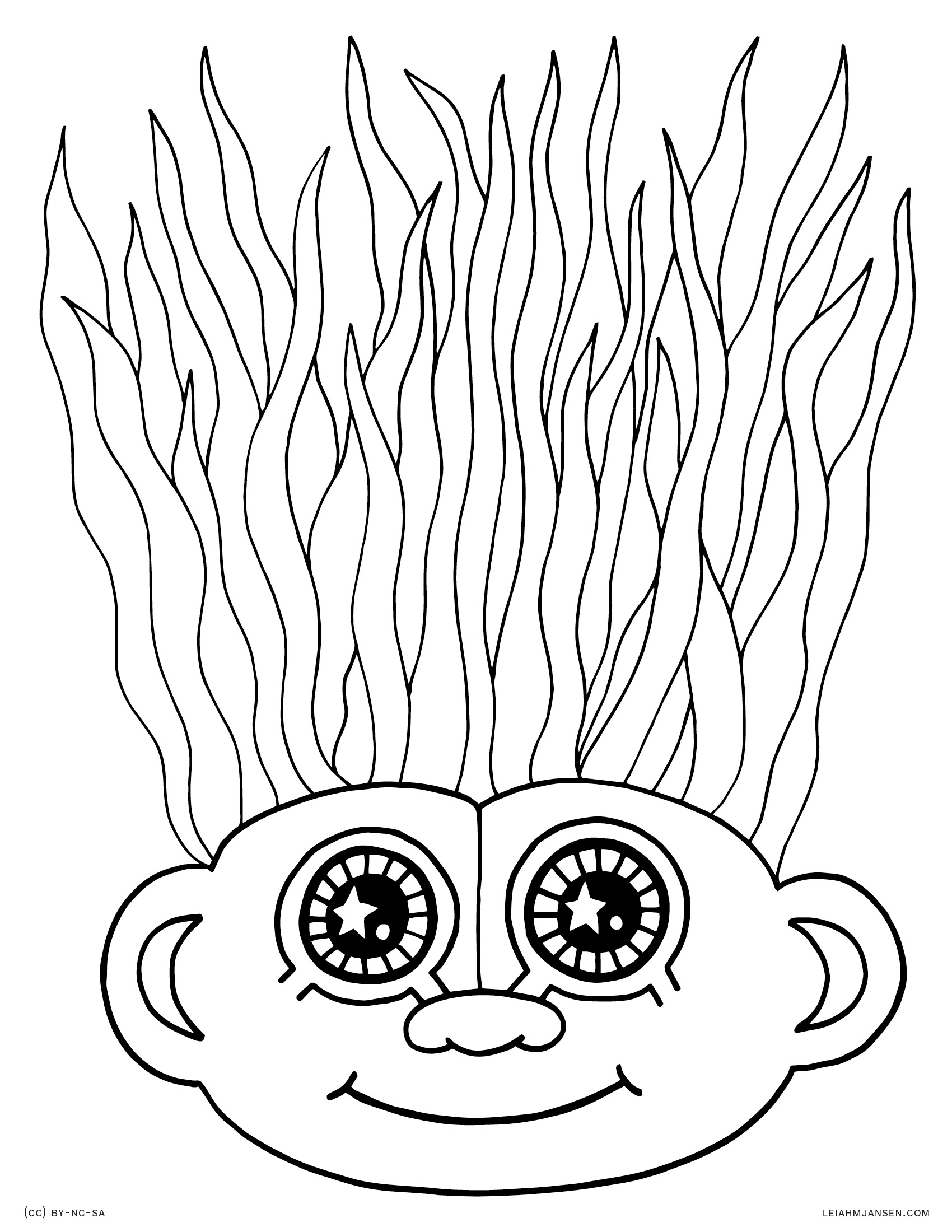 Free coloring pages of trolls - Troll Hair Troll Doll With Crazy Hair Free Printable Coloring Page