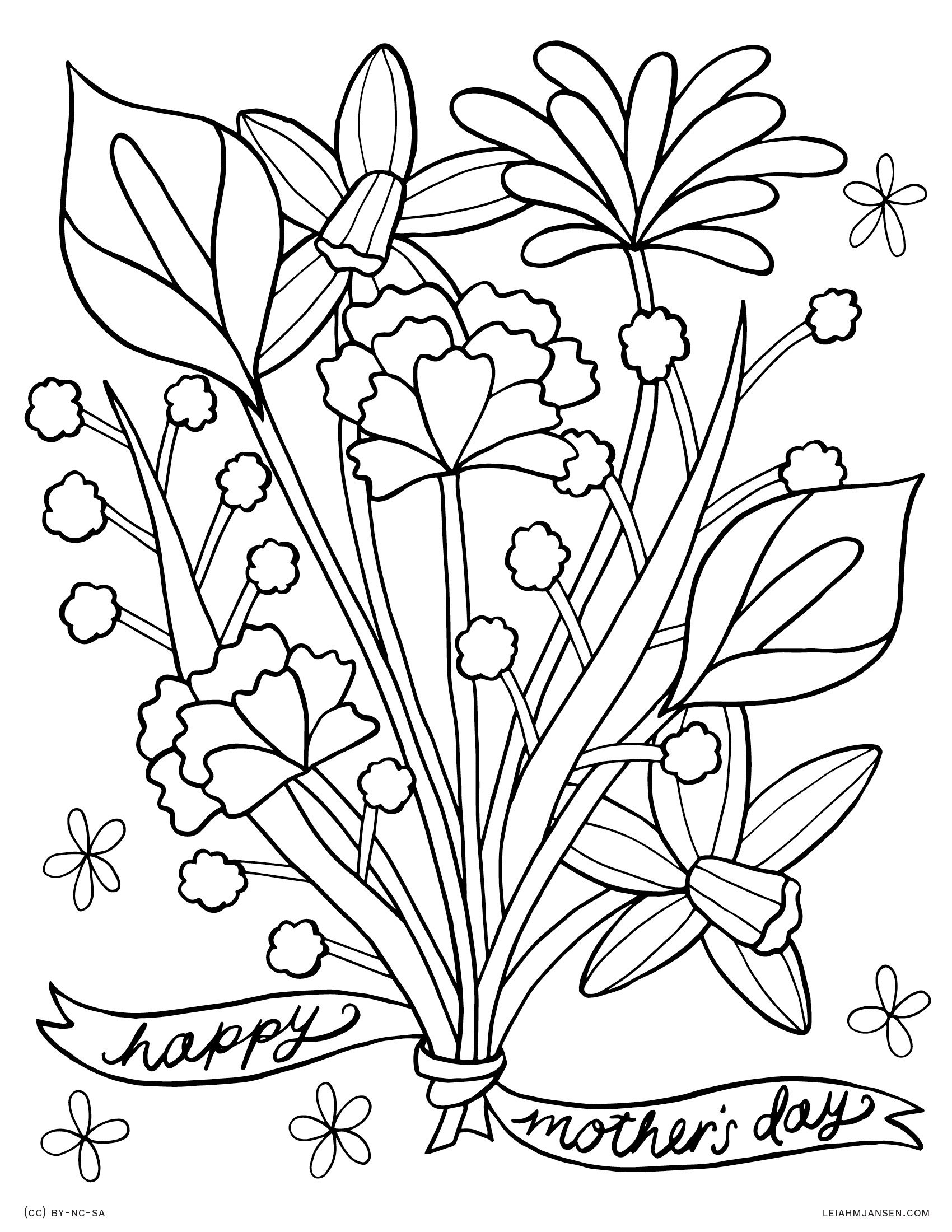 Free coloring pages happy mothers day - Mother S Day Flower Bouquet Happy Mother S Day Free Printable Coloring Page For Adults And