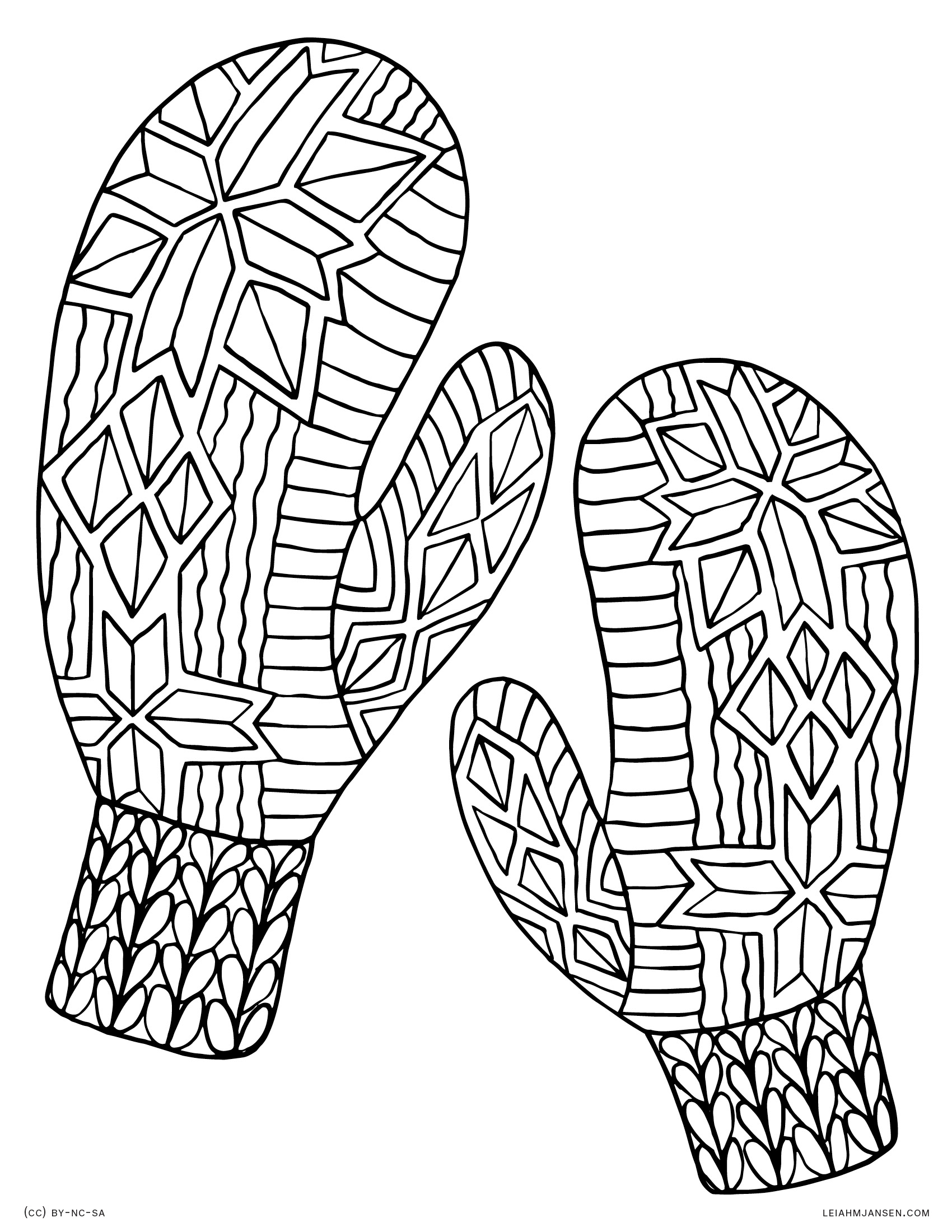 mittens for adults pages coloring pages