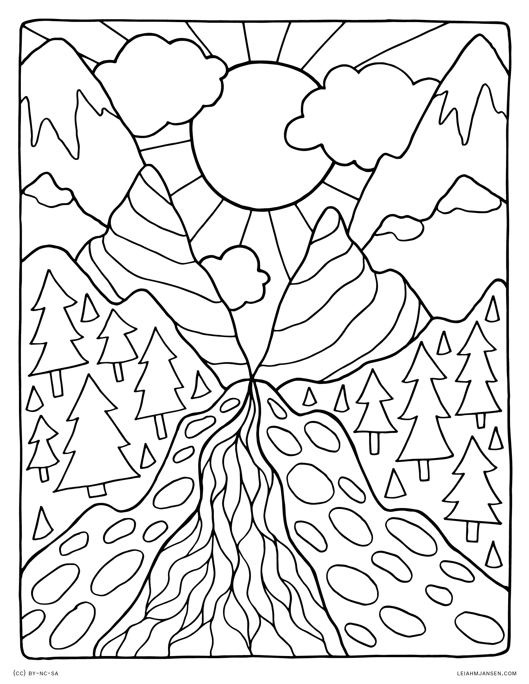 Coloring pictures of nature -  Mountain Pass Landscape Peaceful Nature Scene Free Printable Coloring Page For Adults And Kids