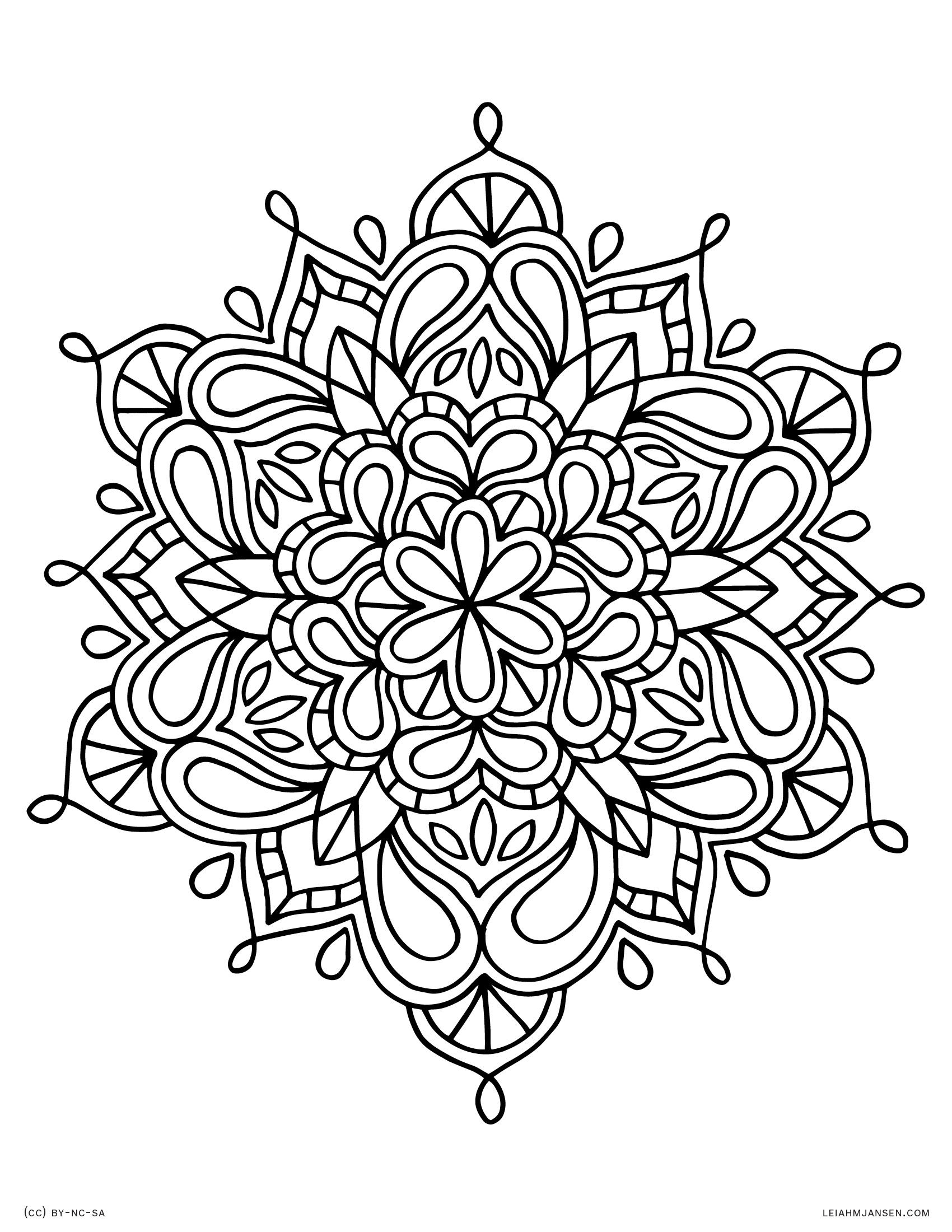 Organic mandala floral indian inspired mandala free printable coloring page for adults and