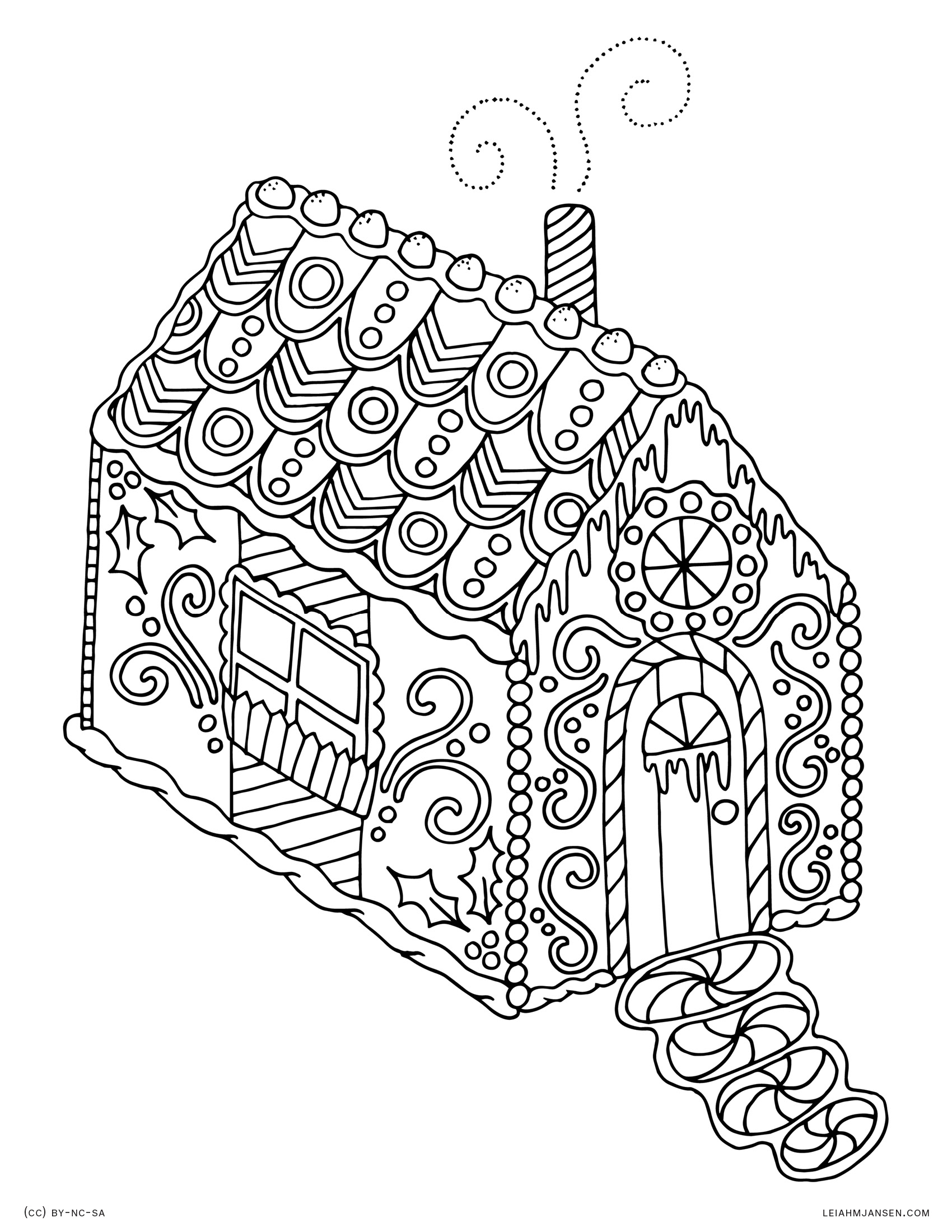 Holiday coloring pages for Gingerbread house coloring pages