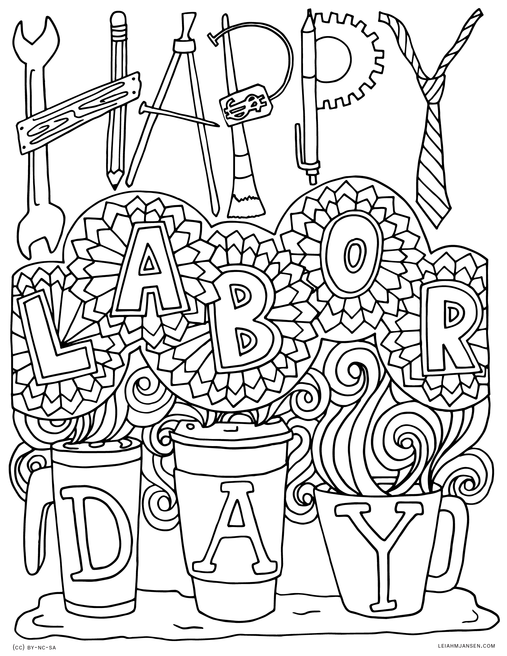 tools patriotism are fueled by coffee happy labor day free printable coloring page - Labor Day Coloring Pages Kids