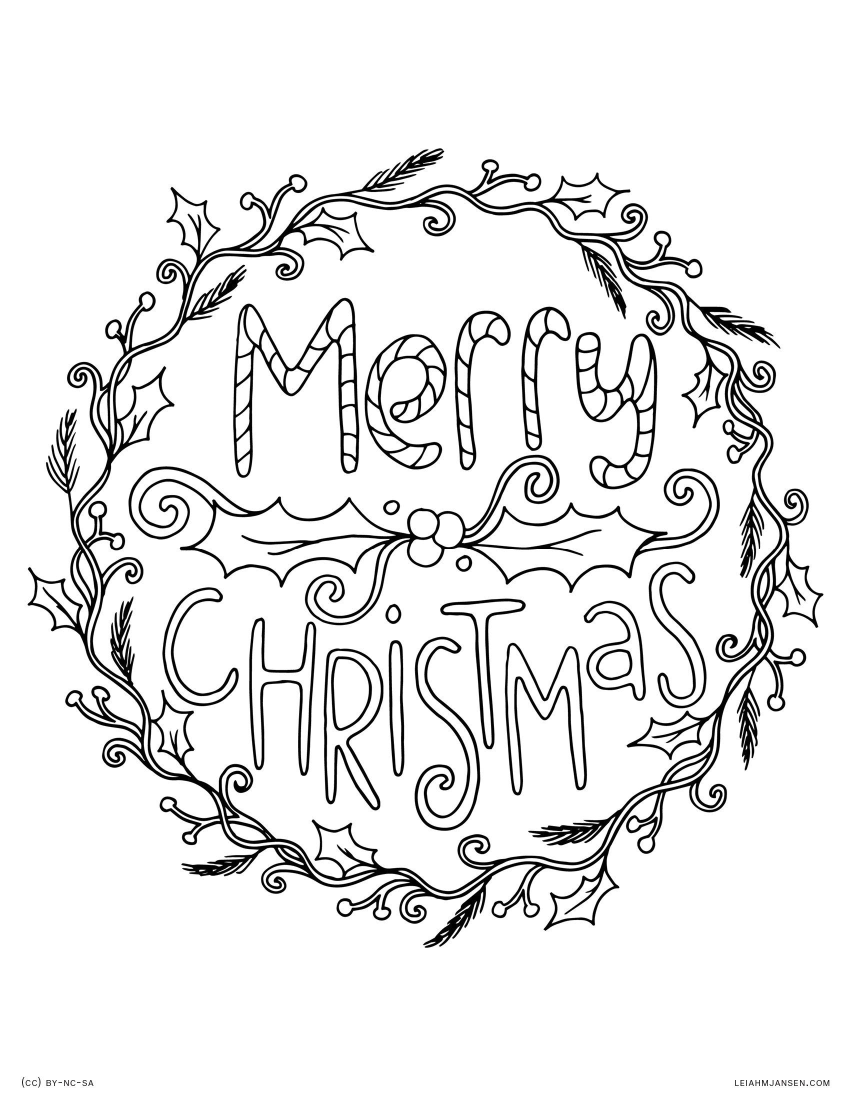 merry christmas wreath and holly happy holidays free printable coloring page for adults and