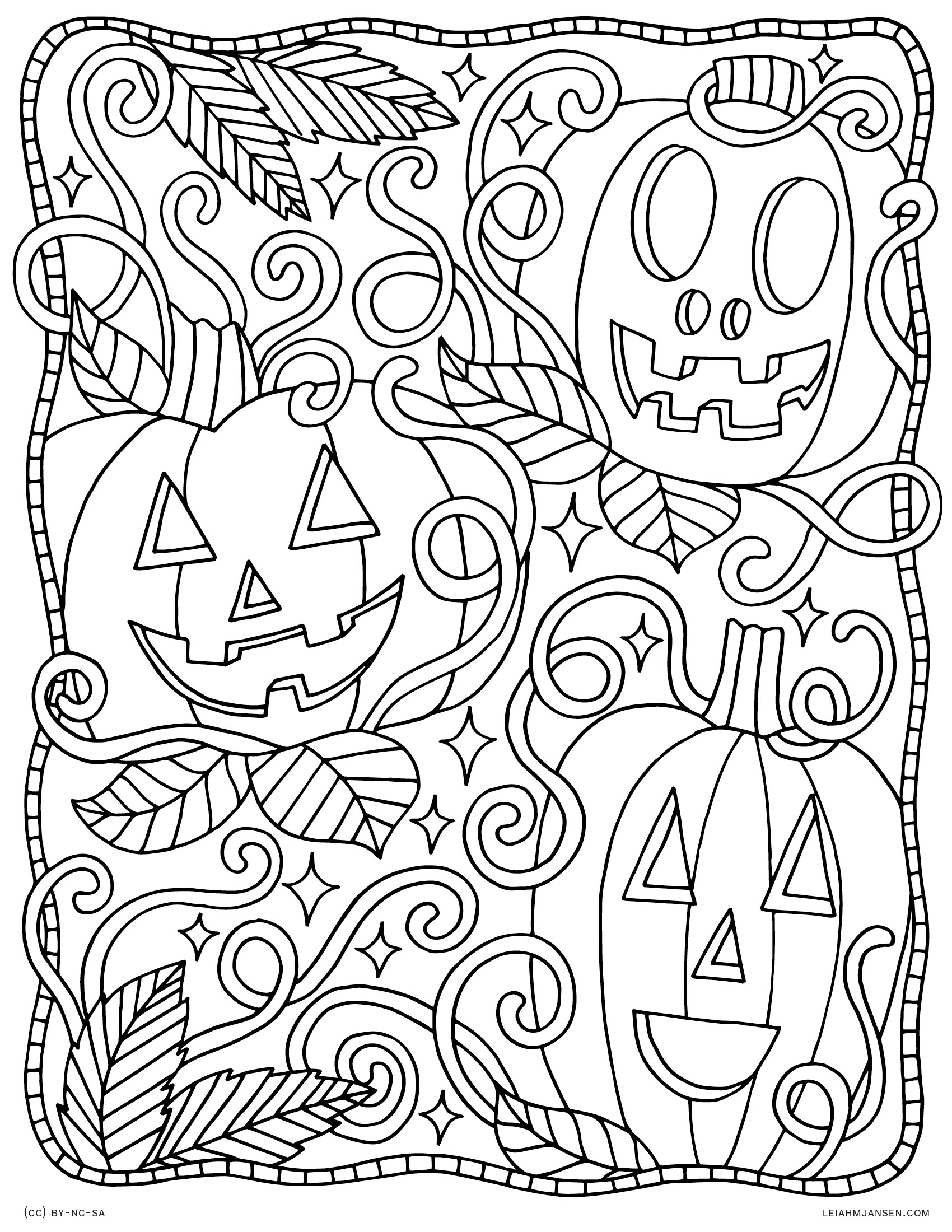 Pumpkin Patch Jack-o-Lanterns & Vines - Happy Halloween - Free Printable Coloring Page for Adults and Kids, by leiahmjansen.com