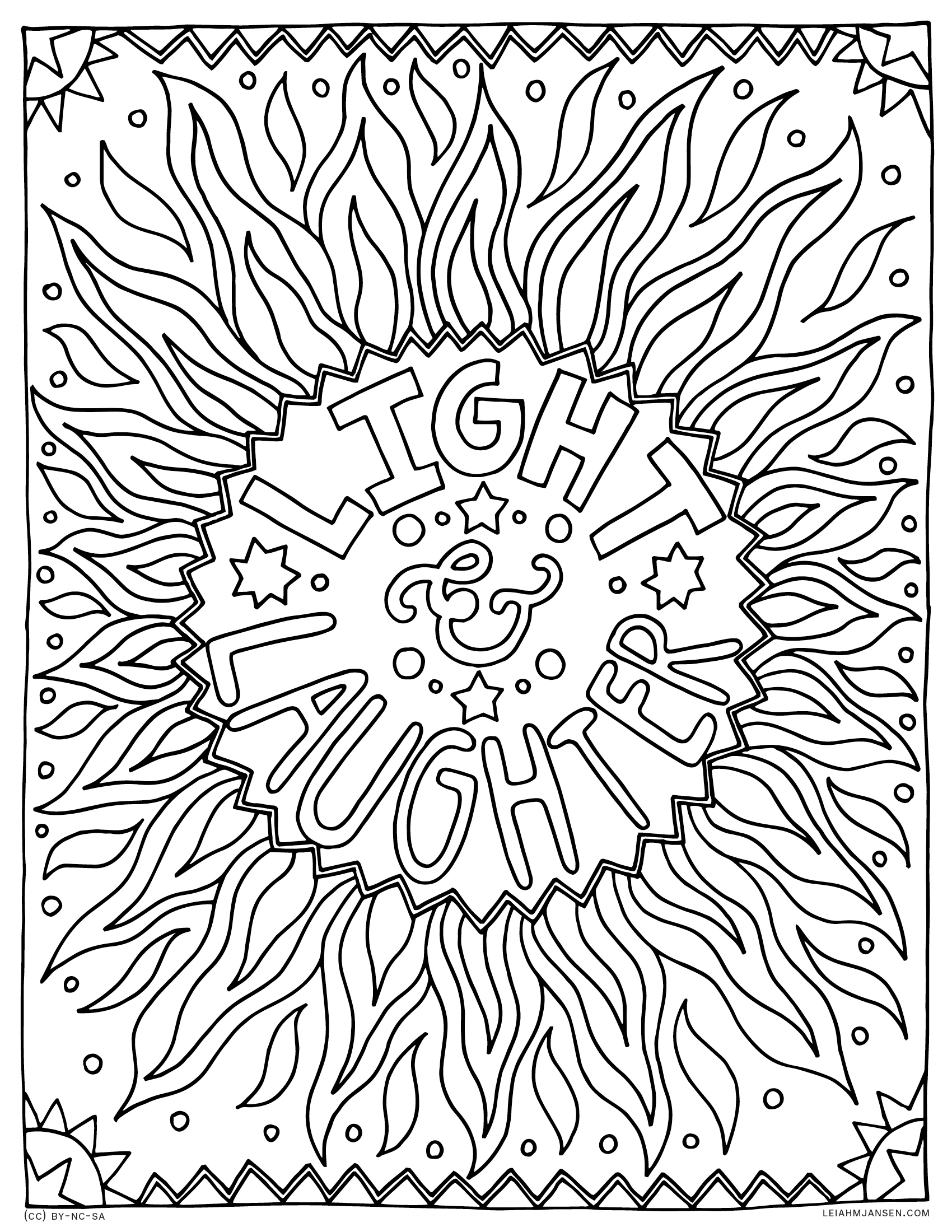 Light & Laughter - Summer Solstice - Free Printable Coloring Page for Adults and Kids, by leiahmjansen.com