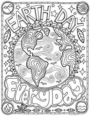 Soul Flower Earth Day Coloring Page