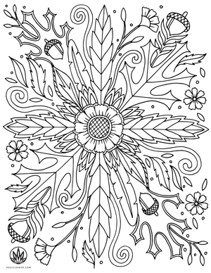 Soul Flower Thanksgiving Mandala Coloring Page Earth