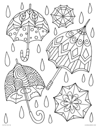 decorated umbrellas spring rain free printable coloring page for adults and kids by
