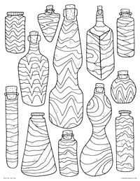 Sand Art - Retro Bottles Sand Art - Free Printable Coloring Page for Adults and Kids, by leiahmjansen.com @oleiah