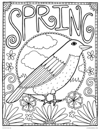 Spring Robin - Seasonal Spring Bird - Free Printable Coloring Page for Adults and Kids, by leiahmjansen.com @oleiah