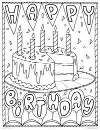 Happy Birthday - Birthday Cake Birthday Party - Free Printable Coloring Page for Adults and Kids, by leiahmjansen.com @oleiah