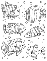 Tropical Fish - Decorated Colorful Fish - Free Printable Coloring Page for Adults and Kids, by leiahmjansen.com @oleiah
