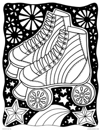 Magical Rainbow Rollerskates - Blacklight Starry Roller Skates - Free Printable Coloring Page for Adults and Kids, by leiahmjansen.com @oleiah