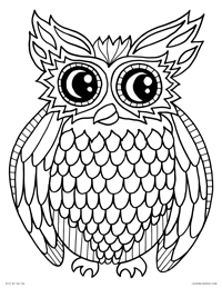 Night Owl - Decorated Owl Bird - Free Printable Coloring Page for Adults and Kids, by leiahmjansen.com @oleiah