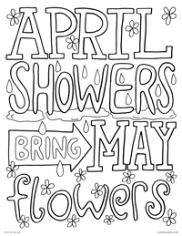 April Showers Bring May Flowers - Spring Rain Lettering Quote - Free Printable Coloring Page for Adults and Kids, by leiahmjansen.com @oleiah