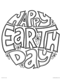 Happy Earth Day - Retro Lettering Earth Globe - Free Printable Coloring Page for Adults and Kids, by leiahmjansen.com @oleiah