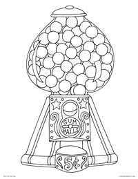Gumball Machine - Vintage Retro Gum Ball Dispenser - Free Printable Coloring Page for Adults and Kids, by leiahmjansen.com @oleiah