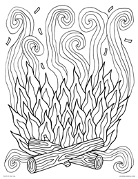 campfire log camp fire with smoke free printable coloring page for adults and kids