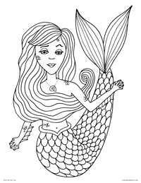 Mermaid - Little Mermaid Fish Girl - Free Printable Coloring Page for Adults and Kids, by leiahmjansen.com @oleiah