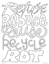 The Five R's - Refuse, Reduce, Reuse, Recycle, Rot - Free Printable Coloring Page for Adults and Kids, by leiahmjansen.com @oleiah