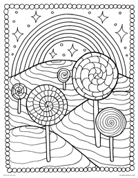 Lollipops & Rainbow - Candyland Candy Mountain Psychedelic World - Free Printable Coloring Page for Adults and Kids, by leiahmjansen.com @oleiah