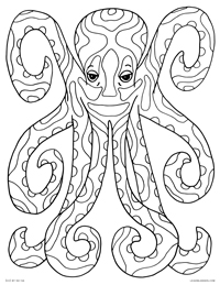 Decorated Octopus - Psychedelic Octopus Sea Creature - Free Printable Coloring Page for Adults and Kids, by leiahmjansen.com @oleiah