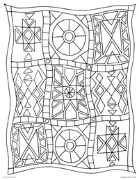 Patchwork Quilt - Geometric Star Quilt Blanket - Free Printable Coloring Page for Adults and Kids, by leiahmjansen.com @oleiah