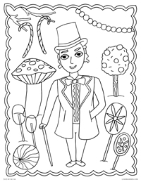 Willy Wonka in his Candy Room of Pure Imagination - Gene Wilder as Willy Wonka and the Chocolate Factory - Free Printable Coloring Page for Adults and Kids, by leiahmjansen.com @oleiah