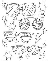 Decorated Sunglasses - Summer Sunnies and Shades - Free Printable Coloring Page for Adults and Kids, by leiahmjansen.com @oleiah