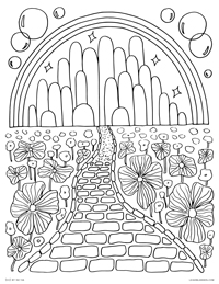 free printable coloring page for emerald city in the land of oz wizard of oz yellow brick road and poppy