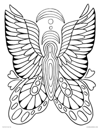 Butterfly Angel - Rainbow Baby - Free Printable Coloring Page for Adults and Kids, by leiahmjansen.com @oleiah