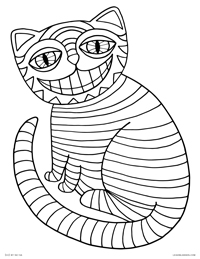 Cheshire Cat - Striped Smiling Cat like Alice in Wonderland - Free Printable Coloring Page for Adults and Kids, by leiahmjansen.com @oleiah