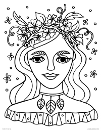 Spring Goddess Woman - Nature Girl in Flower Crown - Free Printable Coloring Page for Adults and Kids, by leiahmjansen.com @oleiah