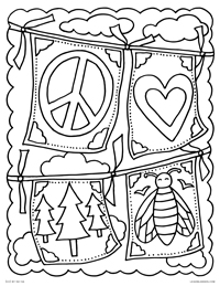 Prayer Flags - Peace, Love, Nature, Bees - Free Printable Coloring Page for Adults and Kids, by leiahmjansen.com @oleiah