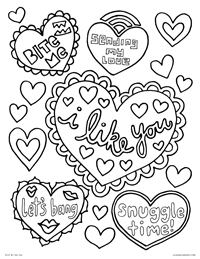Naughty Valentine's Hearts - Adult Valentines, Bite Me, Let's Bang, Snuggle Time, I Like You, Sending My Love - Free Printable Coloring Page for Adults and Kids, by leiahmjansen.com @oleiah