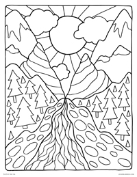 Mountain Pass Landscape - Peaceful Nature Scene - Free Printable Coloring Page for Adults and Kids, by leiahmjansen.com @oleiah