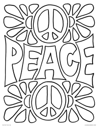 Peace - Funky Retro Peace Sign Poster - Free Printable Coloring Page for Adults and Kids, by leiahmjansen.com @oleiah