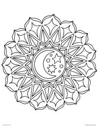 Moon Mandala - Geometric Celestial Moon and Stars Mandala - Free Printable Coloring Page for Adults and Kids, by leiahmjansen.com @oleiah