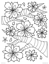 Cherry Blossoms - Falling Cherry Blossom Flowers - Free Printable Coloring Page for Adults and Kids, by leiahmjansen.com @oleiah