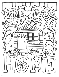 Home Sweet Home - Cute House Saying - Free Printable Coloring Page for Adults and Kids, by leiahmjansen.com @oleiah
