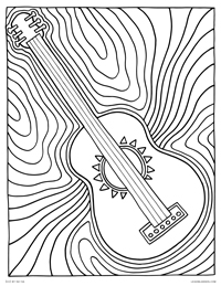 Guitar - Psychedelic Rainbow Guitar Music - Free Printable Coloring Page for Adults and Kids, by leiahmjansen.com @oleiah