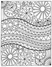 4th of July American Flag - Independence Day - Free Printable Coloring Page for Adults and Kids, by leiahmjansen.com @oleiah