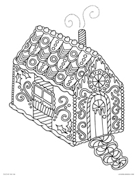 Decorated Candy Gingerbread House - Happy Holidays - Free Printable Coloring Page for Adults and Kids, by leiahmjansen.com @oleiah