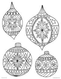 Christmas Tree Ornaments - Happy Holidays - Free Printable Coloring Page for Adults and Kids, by leiahmjansen.com @oleiah